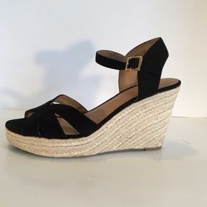 American Eagle Espadrille Wedges Black Velvet 10